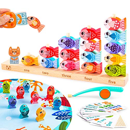 VATOS Wooden Magnetic Fishing Games Toy for Toddlers Educational Learning Toys for 3 4 5 Year Old Montessori Fishing Toys for Kids Math Counting Skills Preschool Fish Games Toy for Boys Girls Gifts
