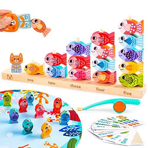 VATOS Magnetisches Holzangelspiel für Kinder Pädagogisches Lernspielzeug für 3 4 5 Jährige Kinder 2 in 1...