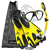 Phantom Aquatics Italian Collection Legendary Panoramic View Mask Fin Dry Snorkel Set with Deluxe Snorkeling Gear Bag… (Tropic Yellow, M/L, 9-12)