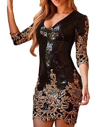 MASHIKOU Damen V-Ausschnitt Bodycon Minikleid Paillettenkleid Partykleid Kurz Cocktailkleid (M, Schwarzes Gold)