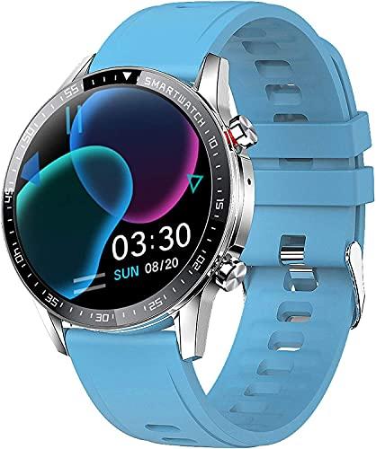 YQCH Bluetooth Smart Watch Monitor de Ritmo cardíaco Fitness Tracker con presión Arterial Control de música Control de sueño Make Call Sport Relojes para Hombres Mujeres (Color : Blue)