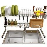 JPL Scaffale di stoccaggio della cucina della famiglia, Scaffale di asciugatura del piatto del lavandino, Scaffale di esposizione dello scolapiatti in acciaio inossidabile, Organizzatore di stoviglie