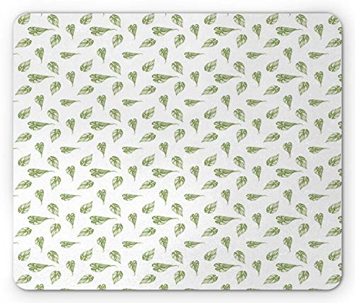 HJJL Botanical Mouse Pad, Hand Drawn Philodendron Leaves Images in Repeating Design Monochrome Art, Rectangle Non-Slip Rubber Mousepad, Standard Size, Olive Green White