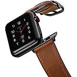 amBand Compatibile Cinturino Apple Watch 44mm 42mm 40mm 38mm,Donna Uomo Cinturini in Vera Pelle Classica Vintage per iWatch Series 6 SE 5 4 3 3 2 1
