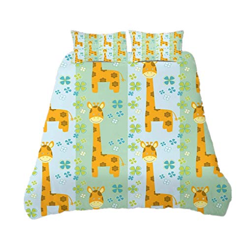 695 HNHDDZ 3D Animal Bedding Set Cartoon Cute Duvet Cover Giraffe Yellow Green Duvet Cover and Pillowcase, Specially Designed For Children, Quilt Cover With Zip (Style 2, King 220x240 cm)