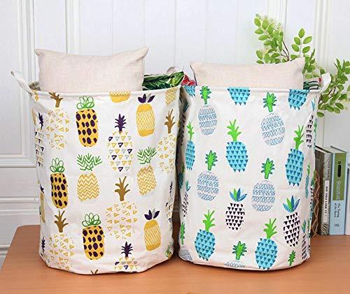 LessMo 2PCS 17.7' Wäschekorb Sortierer – Faltbar - 2er Set Wäschesammler spart Zeit beim Sortieren - Wäschesack - Wäschekörbe - Laundry Baskets - 45 x 35 cm(Ananas, Verdickt 17,7'/ Medium)