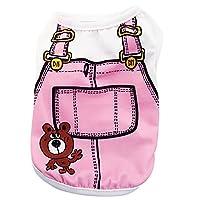 konkawa| ペット服 犬服 猫服 犬服 可愛い 洋服 お洒落 お出かけ 部屋着 ワンちゃんへのプレゼント ペットアクセサリー (S, Pink)