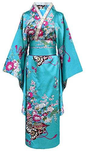 Kimono de japonesa-Disfraz para mujer, diseño de geisha turquesa talla única
