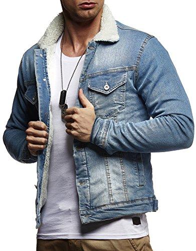 Leif Nelson Herren Jeansjacke Basic Stretch Jeans Jacke Fell Stehkragen Übergangsjacke Hoodie Freizeitjacke LN9610; Größe L, Hell Blau
