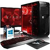 VIBOX Standard 3XLW - Ordenador para Gaming (21.5', AMD A8-7600, 32 GB de RAM, 2 TB de Disco Duro, AMD Radeon R7) Color neón Rojo - Teclado QWERTY Inglés