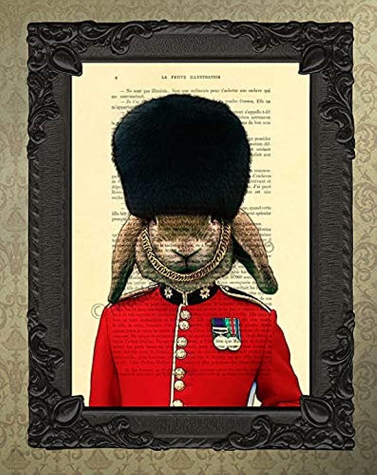 Queen's Guard rabbit poster, uk cavalry soldier art print, animal artwork