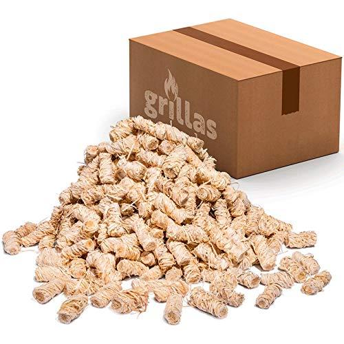 grillas Bio-Kaminanzünder 5 kg aus Holzwolle, in Wachs getränkt | Kohleanzünder | Grillanzünder | Wachsanzünder | Anzündwolle | Anzündhilfe | ohne Rückstände