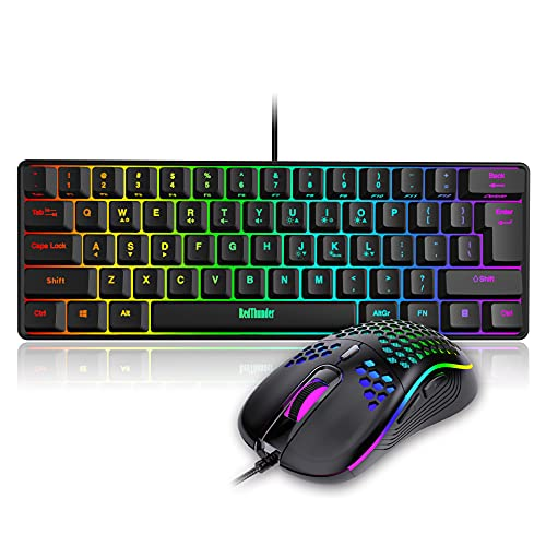 RedThunder 60% Gaming Keyboard and Mouse Combo, Ultra-Compact 61 Keys RGB Backlit Mini Keyboard, Lightweight 7200 DPI Honeycomb Optical Mouse, RGB Wired Gaming Set for PC MAC PS5 Xbox Gamer(Black)