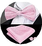 Dubulle - Set da uomo con papillon / fazzoletto da taschino in seta e coppia di gemelli, per smoking, da matrimonio rosa 85