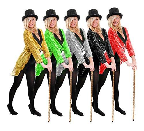 I LOVE FANCY DRESS LTD Frack/Tailcoat= Pailletten=KOSTÜM VERKLEIDUNG TANZAUFFÜHRUNG-STEPTANZ -Fasching+Karneval-Gruppen-VEREINE = 5 6 GRÖSSEN= Goldener Frack IN -SMALL