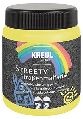 Kreul 43102 Streety - Pintura de calle amarilla de pato de goma, 200 ml, tiza líquida lavable para pintar con pincel o rodillo, tiza líquida, vegana, dermatológicamente probada, lavable