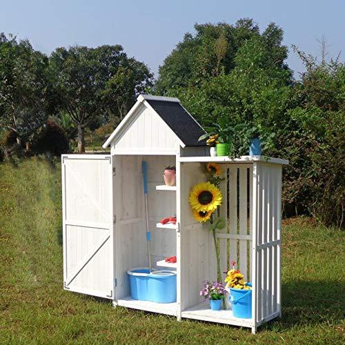 Wooden Garden Cabinet,Slim Garden Cabinet Made Of Fir Wood With Bitumen Roof For Storage,A-white