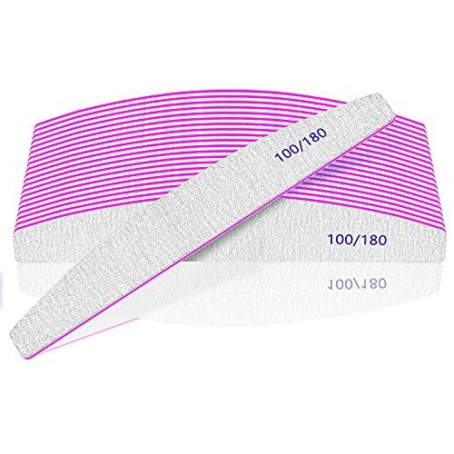 12 Stück Nagelfeilen, Professionelle Nagelfeile 100/180 Körnung Nagelfeilen für Acrylnagelgelnägel oder dicke Nägel, Nagelfeilen waschbar und wiederverwendbar, doppelseitige Schmirgelbrettnagelfeilen
