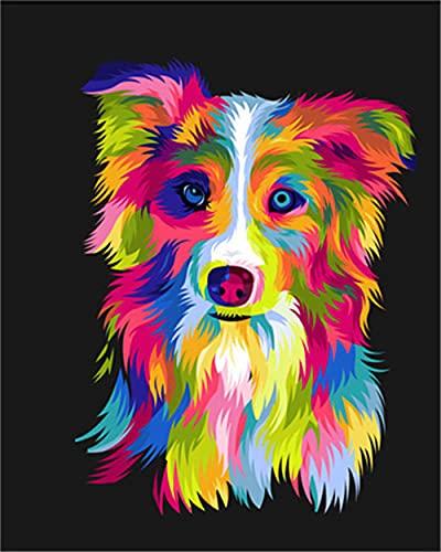 TLETEL DIY Pintar por Numeros para Adultos Niños Perro De Color Pintura Al Óleo Kit con Pinceles Y Pinturas, Lienzo Regalo De Pintura para Adultos Mayores 40 X 50 Cm