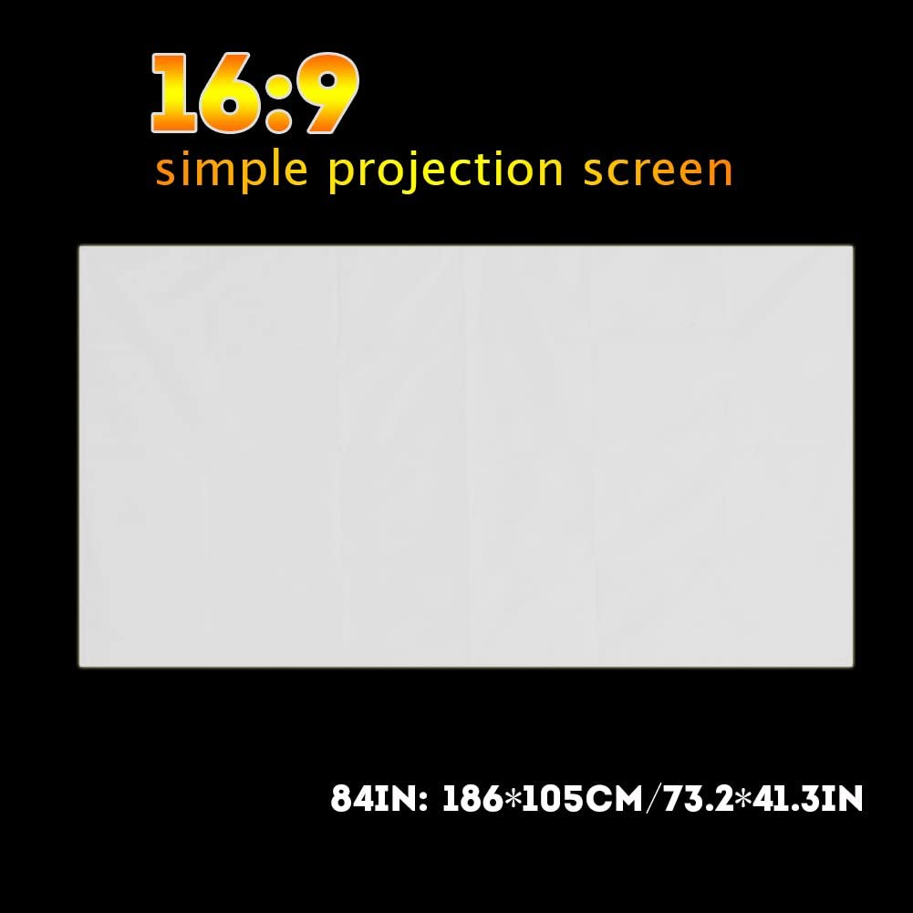 Projector Curtain, Synthetic Polyester Fabric Translucent Screen Durable Projector Screen, Open-Air Cinema for Outdoor Camping Movie(84 inch)