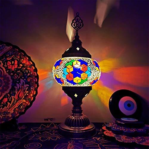 Retro romántico turística marroquí de la lámpara, luz de la noche de Bohemia, hecho a mano mosaico lámpara de mesa de Turquía, decoración LED de la lámpara for Bar Café (Color : Orchid)