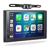 2din Radio mit Carplay Android Auto,2G/32G Android 10.0 Doppel Din Autoradio Bluetooth GPS Navigation Digital Media Moniceiver 2 Din Naviceiver 7 Zoll Bildschirm Radio Lenkradsteuerung WiFi/BT USB