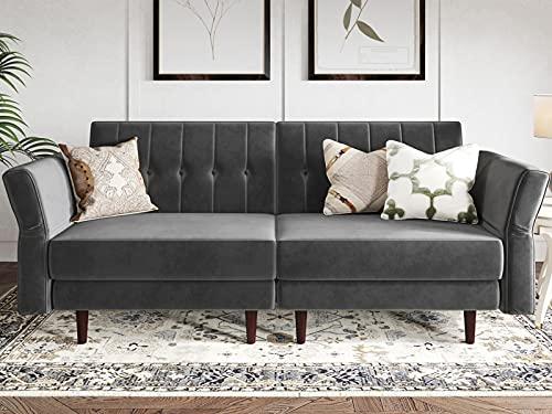 Belffin Velvet Futon Sofa Bed Double Adult 2 Seater Sofa Bed Settee Small Sofa Bed Two Seater Gray
