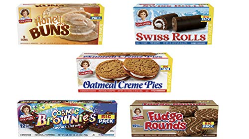 Little Debbie Big Pack Variety Bundle | One Big Pack Box Each of Oatmeal Crème Pies, Honey Buns, Swiss Rolls, Fudge Rounds and Cosmic Brownies