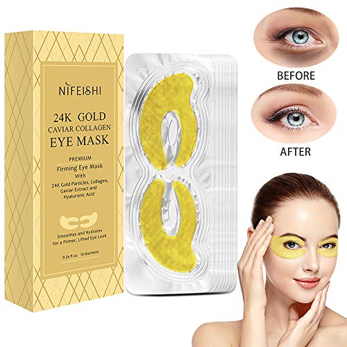 Maschera per la cura degli occhi, con collagene dorato, idratante, anti invecchiamento, trattamento per occhi gonfi, occhiaie, cerotti per occhiaie, a
