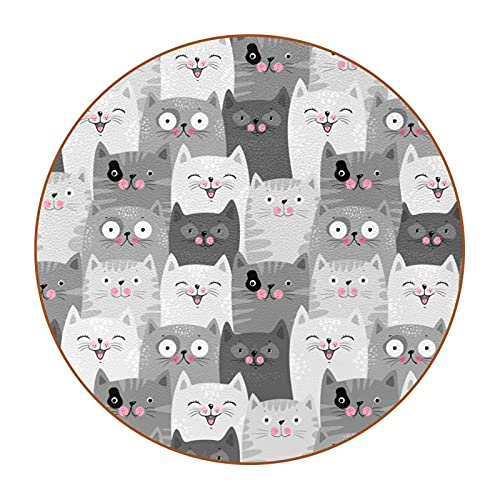 Rotondo Sottobicchiere gatto grigio Coaster stampi Sottobicchieri per Bevande Antiscivolo Per Bicchiere/Tazza da Caffè/Bicchiere da Vino Rosso/Calice 11x11 cm