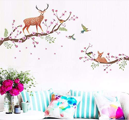 Zxfcczxf Style Nordique Sika Cerf Prune Fleur Arbre Stickers Muraux Animaux Pour Enfants Chambre Salon Chambre Art S Décoration 85 * 50 Cm