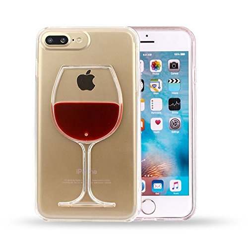 Sunday Gallery Fashion Creative 3D Design Flowing Liquid Red Wine Glass Clear Back Protective Case Cover for iPhone 7 Plus 5.5 inch ONLY (Red Wine Glass)