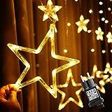 12 Étoiles Rideau Lumineux 2M 138 LEDs, Ulinek Guirlande Lumineuse pour Fête Noël Nouvel an Anniversaire, Mariage, Éclairage Féerique Enfant, Décoration Lumière Blanc Chaud