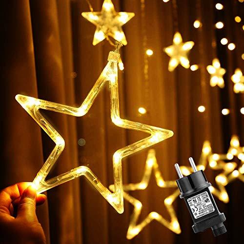 Cortina de Luces Navidad, Ulinek 2M 138LEDs Cadena Luz LED con 12 Luces Estrellas Luces Navidad Exterior Decoración 8 Modos Resistente al Agua Luce Decorativas para Habitación Interior Fiesta Boda