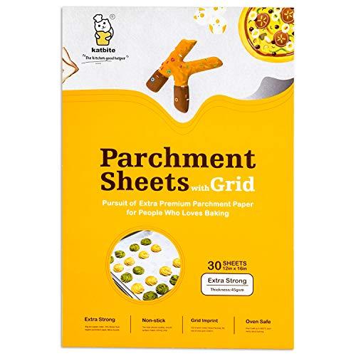 Katbite Heavy Duty Parchment Paper Sheets for Cookies, 12x16 Inch Parchment Sheets, 30 Count