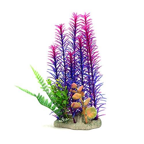 sourcing map Purple Plastic Aquarium Landscape Decorative Plants Ornament for Aquatic Pets