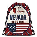 KKs-Shop Mochila con cordón, Saco de Gimnasia, Bienvenido a Nevada Vintage Grunge Poster Bienvenido a Nevada Vintage Grunge Poster