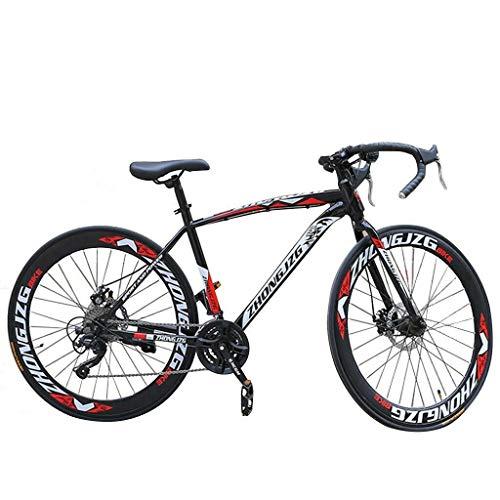 CXSMKP Autopista Bicicleta De Montaña para Adultos Hombres Y Mujer Adolescentes, 21 Velocidades Bicicleta De Carretera De 26' Doble Freno De Disco Bicicletas, Negro