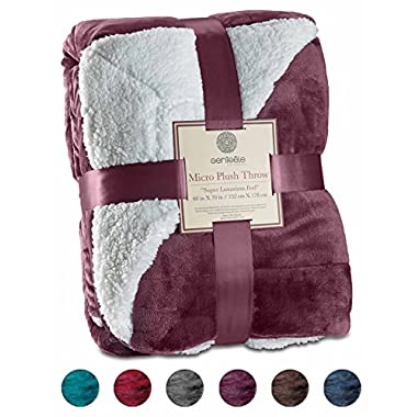 Genteele Sherpa Throw Blanket Super Soft Reversible Ultra Luxurious Plush Blanket (50  X 60 , Rich Purple)