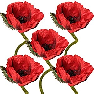 27″ Faux Poppies Flower Decor Long Stem Poppy Flowers Artificial Floral for Home Kitchen Room Dining Table Centerpieces Decorations- Poppies Decorations Orange Decor
