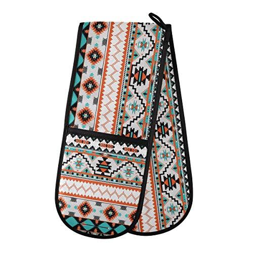F17 - Guantes de doble horno étnico, tribal, azteca, patrón geométrico, doble mitón, resistentes al calor, 88,9 x 17,8 cm, para cocinar y asar a la parrilla
