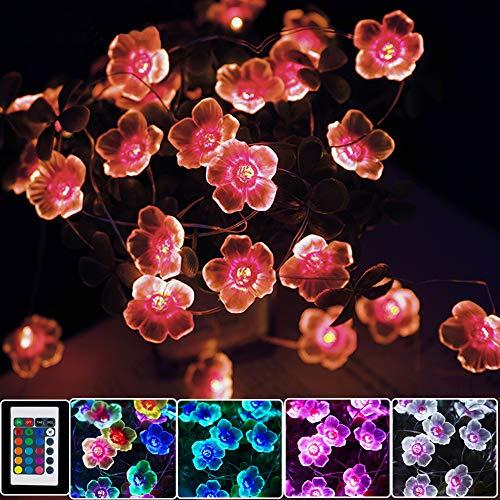 LED Bunt Lichterkette Blumen,4M 40er USB & Batterie LED Blume Lichterkette Innen, 16 Farben Lichterkette für Zimmer mit Fernbedienung für Muttertagsgeschenk, Hochzeit, Garten, Bäume, Mädchen Teenager
