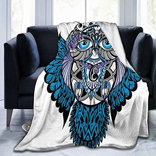 KOSALAER Bedding Manta,Búho pájaro Animal con diseño de Tatuaje de Paisley con Grandes Ojos Azules pestañas Estampado,Mantas cálidas de Sala de Estar/Dormitorio Ultra Suaves para Todas Las Estaciones