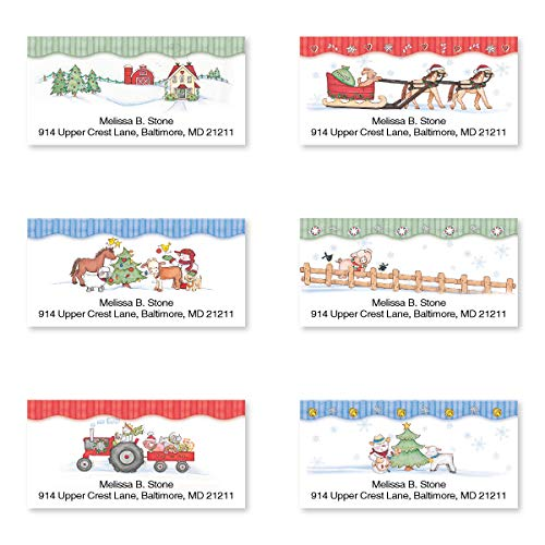 Country Holiday Farm Assorted Sheeted Return Address Labels