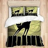 Juego de funda nórdica de 3 piezas, gato negro Un gato negro en una valla frente a la luna, juegos de fundas de edredón de microfibra de lujo para dormitorio, colcha con cremallera con 2 fundas de alm
