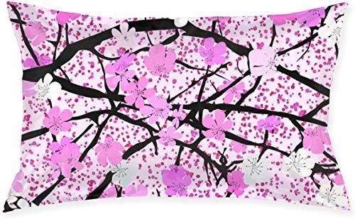 Just life Funda de cojín Decorativa pequeña Lumbar de Flor de Cerezo Funda de Almohada Funda de Almohada Decorativa Serie Living Diseño de Doble Cara 29,9'X 19,6'