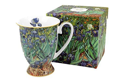 Duo Kaffeetasse Iris Van Gogh mit Fuß 300ml große Tasse XXL Teetasse Kaffee-Tasse Tee-Tasse Tasse für Tee und Kaffee Art Blumenmotiv Kaffeebecher aus Porzellan Kaffee-Becher Teebecher Tee-Tasse