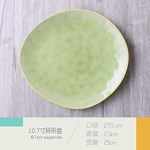 LILICEN Placa de cerámica del hogar Vajilla Creativo Estilo Europeo Occidental Irregular Alimentos Filete Plato Restaurante Placa Blanca Placa Plato Principal de 8 Pulgadas
