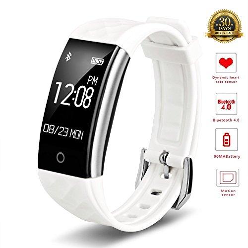 Goldstart Smart-Armband, IP67, wasserdicht, Fitness-Tracker, Schrittzähler, Herzfrequenzmesser, Sportaktivität, Smartwatch (weiß)