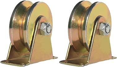 2pcs V-Groove Wheel Sliding Gate Track Roller W/Bracket Heavy Duty Barn Door Casters Steel Slide Gate Hardware for Gate Frame Industrial Machines Carts 2 Inches (1#)